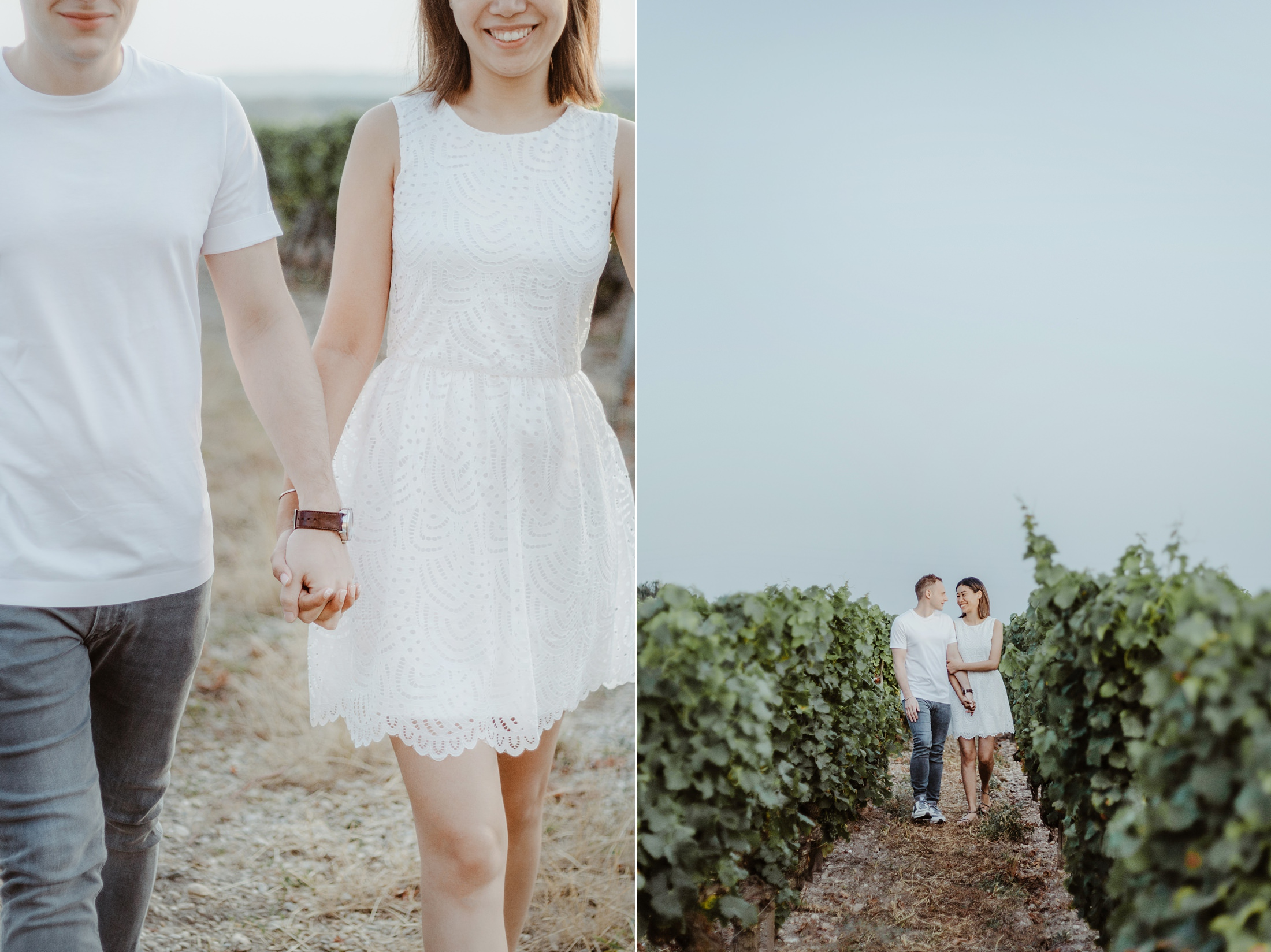 couple session winetour in Saint Emilion at chateau lafaurie peyraguey - french photographer bordeaux jade sequeval