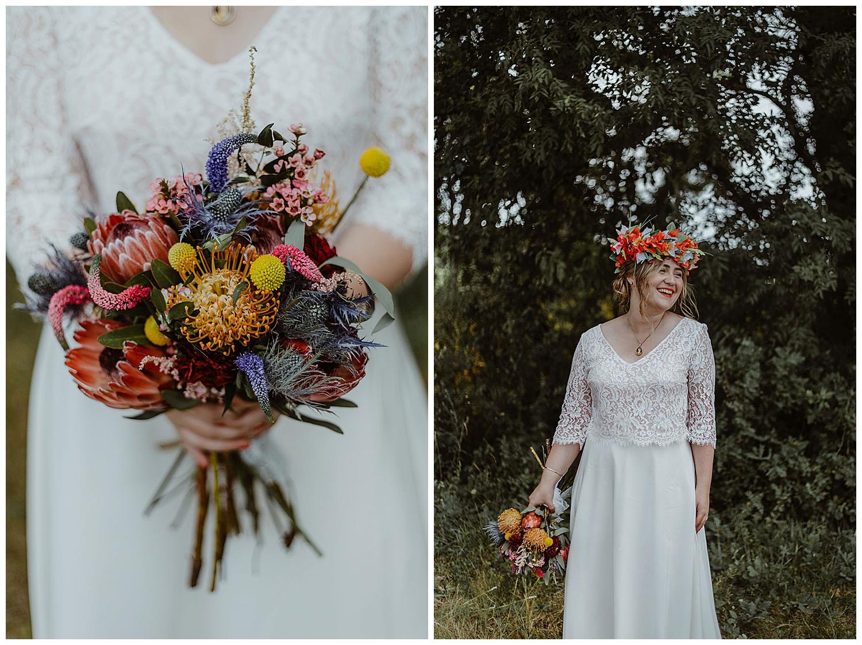 portrais de la mariee et son bouquet de fleurs