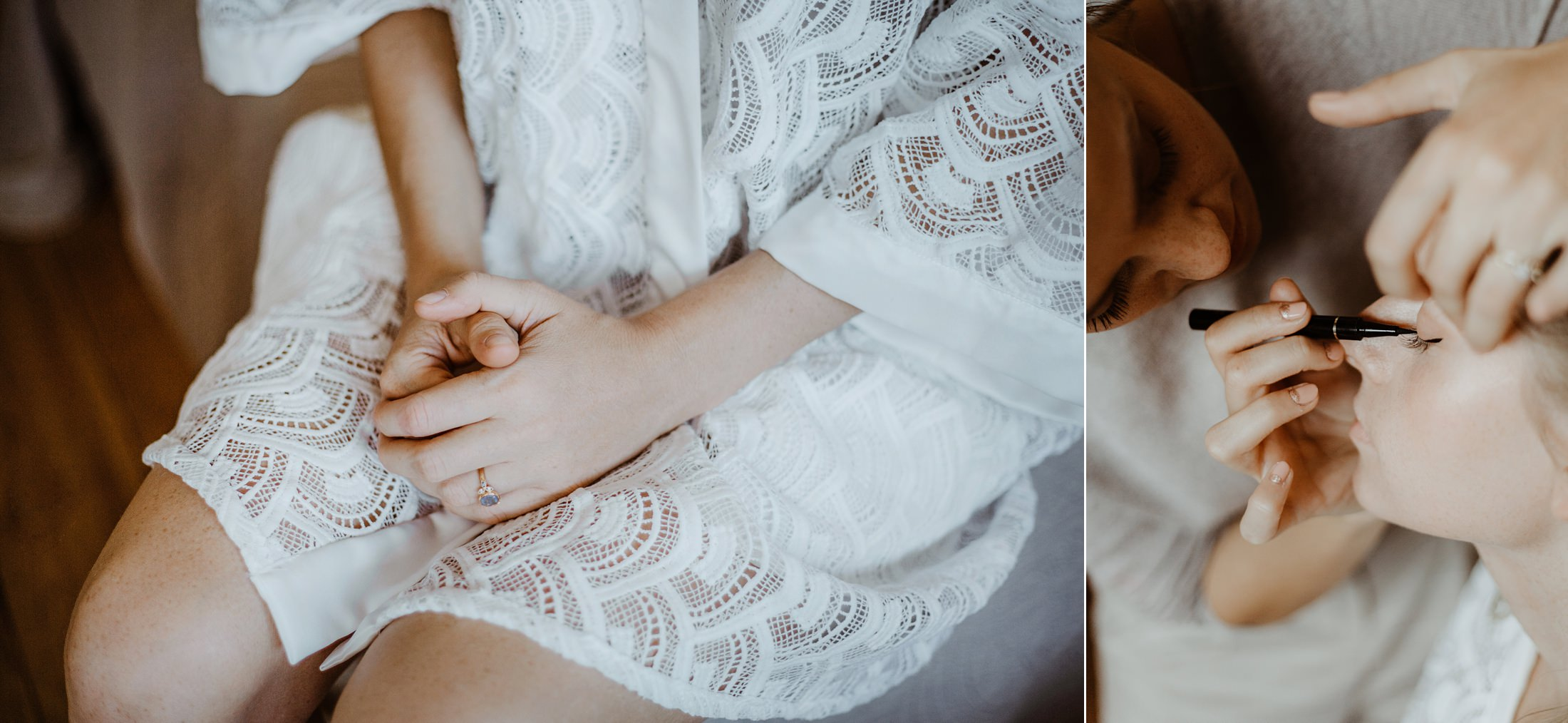 bride getting ready intimate wedding in south of france by french photographer jade sequeval